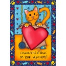 Congratulations On Your New Home, Catnip Toy Greeting Card (blue border)